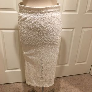 White lace stretch skirt